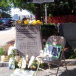 全球同步公祭劉曉波 · 美國 · 波士頓2017年7月19日,六四紀念碑前